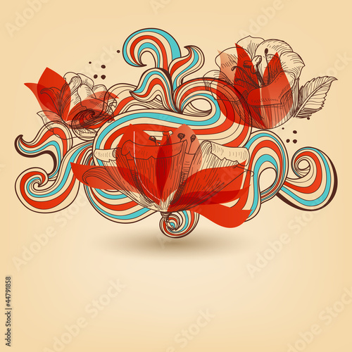 Tuinposter Abstract bloemen Vector flower ornament