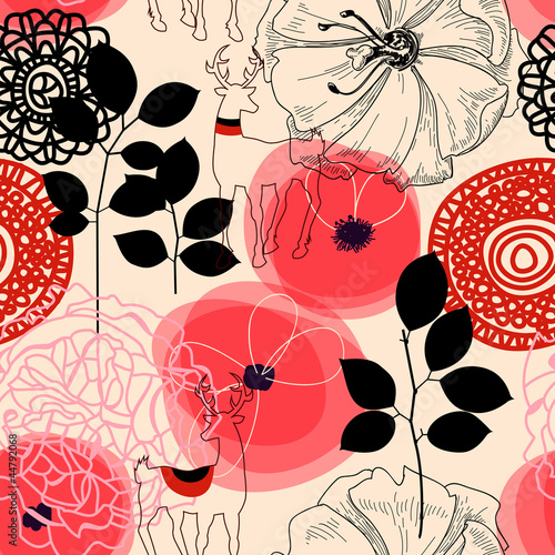 Flowers and deers seamless pattern