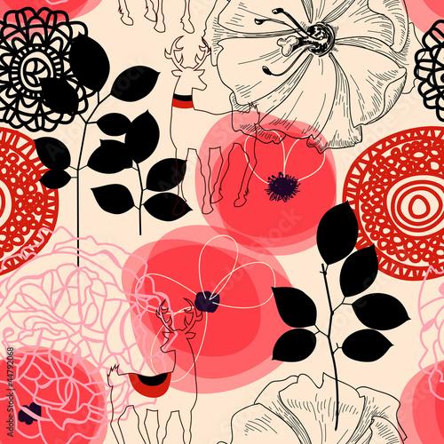 Flowers and deers seamless pattern