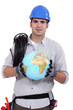 craftsman holding a globe