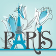 Paris lettering with lilies