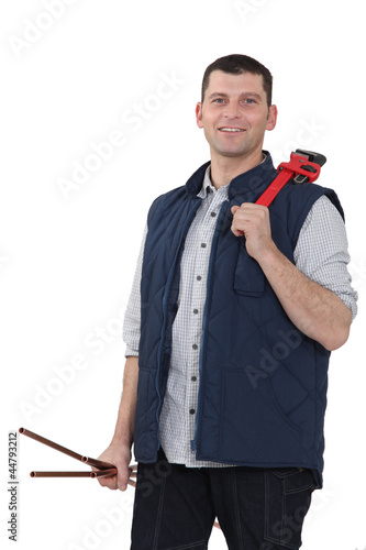 A plumber with a wrench.