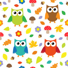 Autumn background with owls