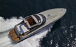 Italy, Flash luxury yacht, aerial view