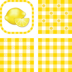 Seamless Check Patterns, Lemons, EPS includes 3 pattern swatches