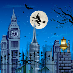 Witch flying on Halloween Night
