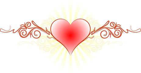 Abstract valentine design with rays.
