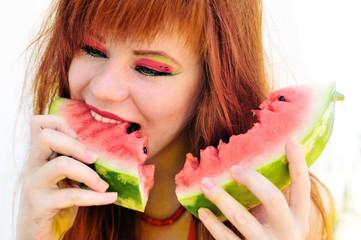 enjoying of watermelon