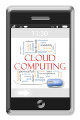 Cloud Computing Word Cloud Concept on Touchscreen Phone