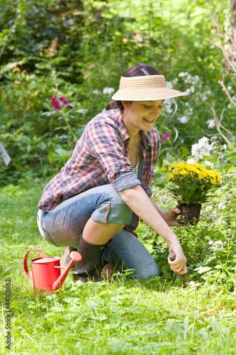 canvas print picture Junge Frau im Garten, Young woman in a garden