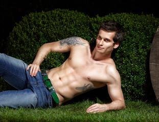 Attractive man on grass