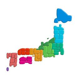 日本地図 日本 地図 立体