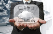 Businessman show cloud network on glass board