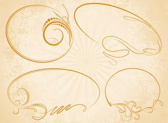 Set of four elegant oval frames