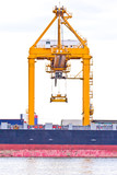 crane working with container cargo in shipyard