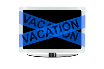 Computer with blue vacation tape