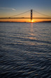 Sunset over the Forth Road Bridge in Edinburgh