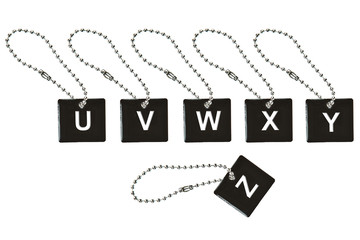 Black metal key tag with letter U-Z