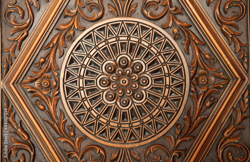 Carvings on the door of a mosque in Doha, Qatar