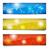 Set of shiny mosaic banners with different shadows