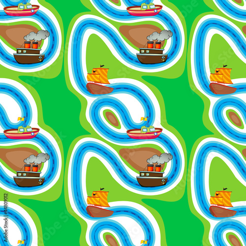Tuinposter Op straat Seamless pattern with kid's theme