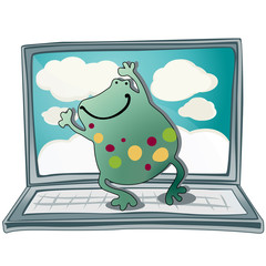 Frog dancing over the laptop