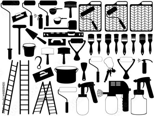 Illustration of different black painting tools