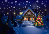 Fototapety Vector of Christmas scene, snowfall is in separated layer.
