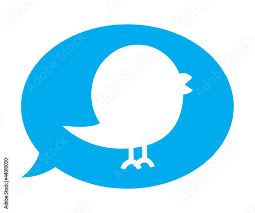 Twitter bird inside blue speech bubble