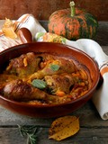 Pumpkin baked with chicken and sage