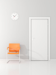 A wall clock and orange chair in the waiting room