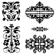 Collection of vegetative and flower emblems of a decor