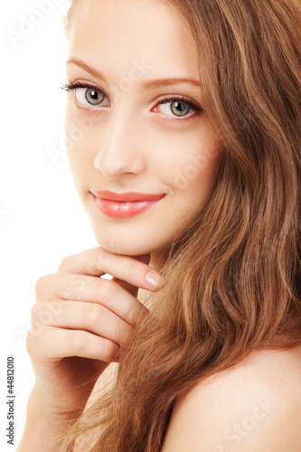 Portrait of a young woman with beautiful hair