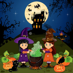 Landscape of witches halloween