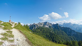 beautiful panoramic view of mountains in friuli, italy poster