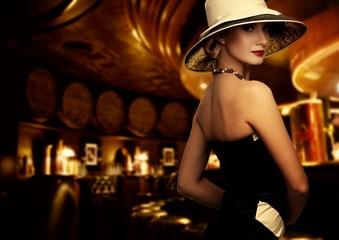 Woman in luxury club interior