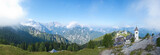 panoramic view of monte lussari, small mountain village, italy