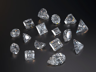 Visualization of various diamond with caustic and refraction