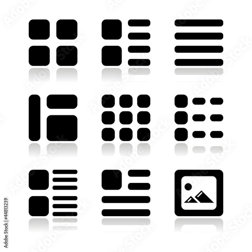 Gallery view Display options icons set - list, grid