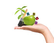 hand with green apple and educational ideas on a white backgroun