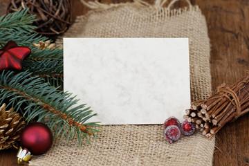 Karte mit Weihnachtsdeko