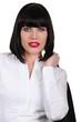 Attractive businesswoman wearing red lipstick