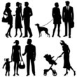 several people, city live - vector silhouettes