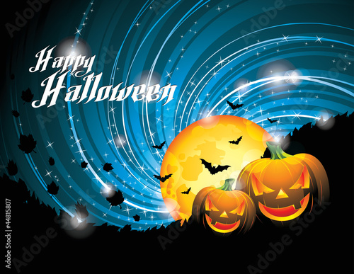 Vector Halloween Party Background with Pumpkins and Moon. EPS 10