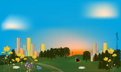 green park near rainbow color city