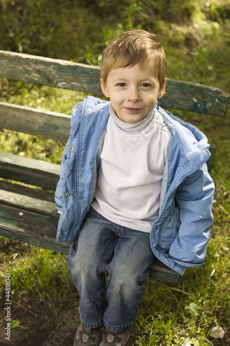 little cute boy outside