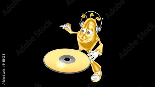 Golden mr. Multic plays a musical CD-ROM. Loop movie