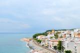 Vista de Sant Pol, pueblo costero de Catalunya poster
