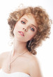 Sensual woman bride, curly red hair. Makeup, beauty, wedding