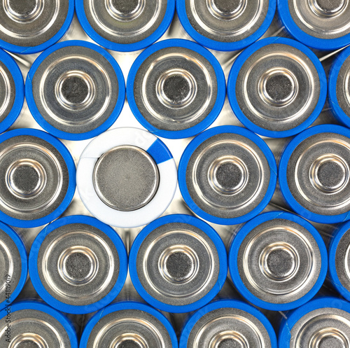 Size AA batteries with positive and one negative